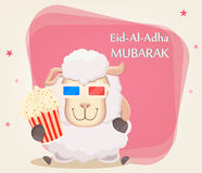 Festival of sacrifice Eid al-Adha. Traditional muslin holiday. G. Reeting card with funny sheep in 3D glasses holding popcorn. Vector illustration on abstract Royalty Free Stock Images