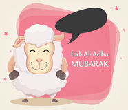 Festival of sacrifice Eid Al Adha. Traditional muslin holiday. G. Festival of sacrifice Eid al-Adha. Traditional muslin holiday. Greeting card, funny sheep with Royalty Free Stock Photos