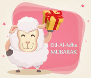 Festival of sacrifice Eid al-Adha. Traditional muslin holiday. G. Reeting card, funny sheep with gift box. Vector illustration on abstract background Stock Photos