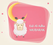 Festival of sacrifice Eid al-Adha. Traditional muslin holiday. G. Reeting card with funny sheep hanging on the moon. Vector illustration on abstract background Royalty Free Stock Image