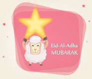 Festival of sacrifice Eid al-Adha. Traditional muslin holiday. G. Reeting card with funny sheep hanging on the star. Vector illustration on abstract background Royalty Free Stock Photo