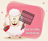 Festival of sacrifice Eid al-Adha. Traditional muslin holiday. G. Reeting card with funny sheep holding barbecue grid and sauce. Vector illustration on abstract Stock Images