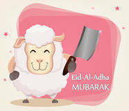 Festival of sacrifice Eid Al Adha. Traditional muslin holiday. G. Festival of sacrifice Eid al-Adha. Traditional muslin holiday. Greeting card with funny sheep Royalty Free Stock Photography