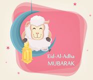 Festival of sacrifice Eid al-Adha. Traditional muslin holiday. G. Reeting card with funny sheep holding golden lantern and sitting on the moon. Vector Stock Images