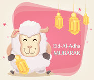 Festival of sacrifice Eid al-Adha. Traditional muslin holiday. G. Reeting card with funny sheep holding golden lantern. Vector illustration on abstract Stock Photo