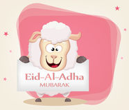 Festival of sacrifice Eid al-Adha. Traditional muslin holiday. G. Reeting card with funny sheep holding placard. Vector illustration on abstract background Stock Photography