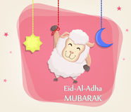 Festival of sacrifice Eid al-Adha. Traditional muslin holiday. G. Reeting card with funny sheep, moon and star. Vector illustration on abstract background Stock Photo