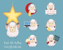 Festival of sacrifice Eid al-Adha. Traditional muslin holiday. S. Et of funny sheep with various things. Vector illustration Stock Photography