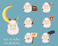 Festival of sacrifice Eid al-Adha. Traditional muslin holiday. S. Et of funny sheep. Vector illustration Royalty Free Stock Image