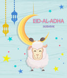 Festival of sacrifice Eid-Ul-Adha. Festival of sacrifice Eid-Al-Adha. Eid Mubarak. Goat hanging on the moon. Vector illustration on abstract blue background Stock Photography