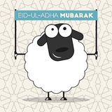 Festival of sacrifice Eid-ul-Adha. Cute sheep with banner on seamless islamic wallpaper pattern for muslim community festival of sacrifice Eid-ul-Adha Royalty Free Stock Photo