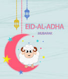 Festival of sacrifice Eid-Ul-Adha.  Lettering translates as Eid Al-Adha feast of sacrifice. Greeting card. Moon, stars and lanterns Royalty Free Stock Image