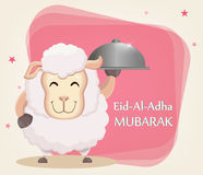 Festival of sacrifice Eid-Ul-Adha. Traditional muslin holiday. Greeting card with funny sheep holding cloche. Vector illustration on abstract background Royalty Free Stock Images