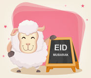 Festival of sacrifice Eid-Ul-Adha. Traditional muslin holiday. Greeting card with funny sheep standing near advertising sign. Vector illustration on abstract Royalty Free Stock Photos
