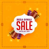 Festival sale background with diwali crackers. Vector Stock Image