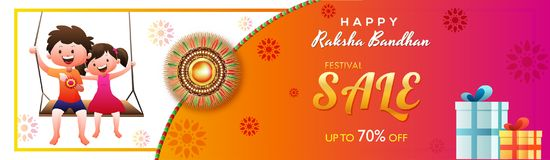 Festival sale up to 70% off offer, header or banner design with. Happy brother and sister character, gift boxes for Raksha Bandhan celebration Stock Photos