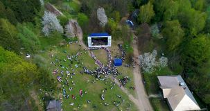 Festival scene and folk dances aerial stock video