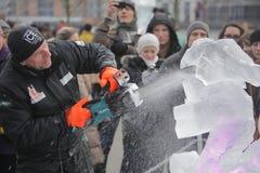 Festival scolpente del ghiaccio a Londra Fotografia Stock Libera da Diritti