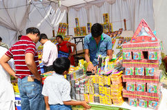 Festival Season - Cracker Store. Customers purchasing crackers from cracker store during diwali festival  in india Royalty Free Stock Image