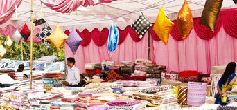 Festival Season - Handloom Shop. Seasonal household store during diwali festival in india Stock Photography