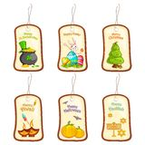 Festival Selling Tag. Vector illustration of collection of selling label tag for different festival Royalty Free Stock Photography