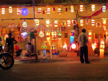 Festival Shop. A streetside shop selling traditional lanterns on the ocassion of Diwali festival in India Royalty Free Stock Images
