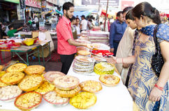 Festival Shopping. People enjoying shopping during diwali festival in india Royalty Free Stock Photo