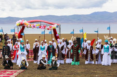 Festival at Song Kul Lake in Kyrgyzstan. This photo was taken in Song kul Lake in Kyrgyzstan. The Central Asian country of Kyrgyzstan offers many possibilities stock photography