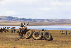 Festival at Song Kul Lake in Kyrgyzstan. This photo was taken in Song kul Lake in Kyrgyzstan. The Central Asian country of Kyrgyzstan offers many possibilities Royalty Free Stock Photo