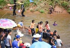 Festival Songkran border Thailand - Laos 2017. Festival Songkran Thailand - Laos 2017 at herng river border loei thailand and bortan chaiyabulee Laos 10 April Stock Images