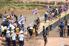 Festival Songkran border Thailand - Laos 2017. Festival Songkran Thailand - Laos 2017 at herng river border loei thailand and bortan chaiyabulee Laos 10 April Royalty Free Stock Photos