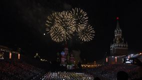 Festival Spasskaya Tower of military orchestras on Red Square in Moscow. Fireworks at the end of show. stock video footage