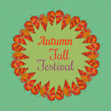 Festival spirit of fall. Template poster Autumn Festival. Autumnal round frame. Fall leaf wreath. Colorful leaves background border retro grunge style. Design Stock Images