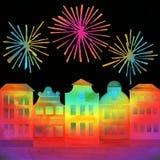 Festival in stad met vuurwerk Stock Fotografie