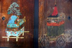 Festival stage and float painting. Painting of a festival stage and a festival float on a wooden door of the Imperial Palace Kyoto Stock Photo
