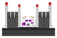 Festival Stage with Speakers and Drums. Big modern concert and festival stage with drum kit, speakers and equipment Royalty Free Stock Image