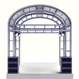 Festival stage steel construction with speaker on white. Illustration Royalty Free Stock Images