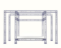 Festival stage steel construction on white isolated. Festival stage  steel construction on white isolated illustration Stock Image