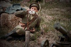 Festival storico militare Chortkiv Athenziv in Chortkiv dal 15 al 17 giugno 2018 1° ottobre 2016 Soldati del Immagini Stock