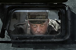 Festival storico in Mordovia, Russia, il 6 luglio 2015 Ritratto di un'autocisterna dell'esercito tedesco Fotografia Stock