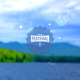 Festival summer realistic badge. EPS10. Festival summer realistic badge, creating a soft background of the sea, forest, sky Royalty Free Stock Photo
