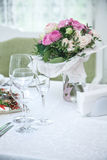 Festival table setting at the restaurant. Royalty Free Stock Photography
