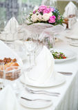 Festival table setting at the restaurant. Stock Photos