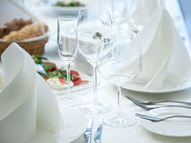 Festival table setting at the restaurant. Stock Images