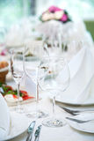 Festival table setting at the restaurant. Royalty Free Stock Image