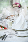 Festival table setting at the restaurant. Stock Photo