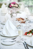 Festival table setting at the restaurant. Royalty Free Stock Photos