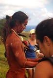 Festival Tapati - Easter Island. Native man after banana sledging on the volcano mountainside Maunga Pui Stock Photo