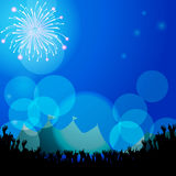 Festival tends and crowd with firework Royalty Free Stock Photo