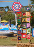 Festival Thailand. Colorful paper, textiles and bamboo lamp lighting and decoration flags made with THAI traditional handmade craft style for modern usage as Stock Image